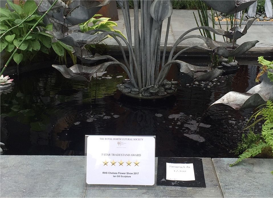 Decorative pond examples on the trade stand of sculpture Ian Gill