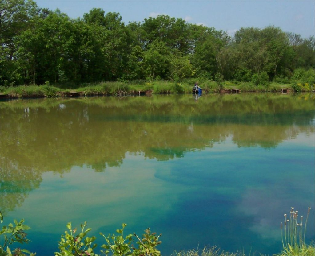 Pond Blue dye for lakes is slowly dispersing in a fishing lake